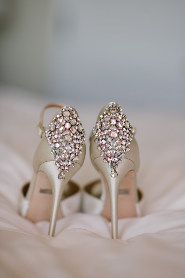 Pink Rhinestone Heel Stiletto Ivory Wedding Shoes