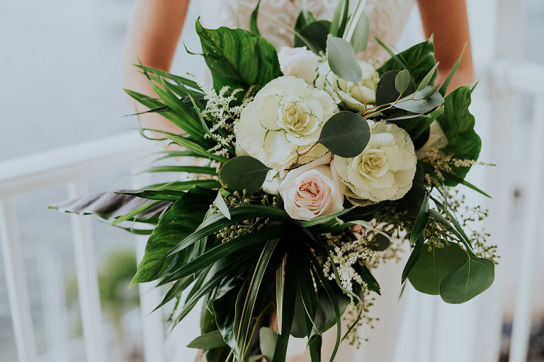 Coastal Inspired Bridal Wedding Bouquet with Blush Rose, White Flower, and Natural Coastal Greenery