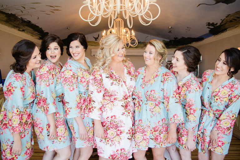 Bridal Party Getting Ready Portrait in Matching Pink and Blue Silk Floral Robes | Clearwater Wedding Photographer Ailyn La Torre Photography