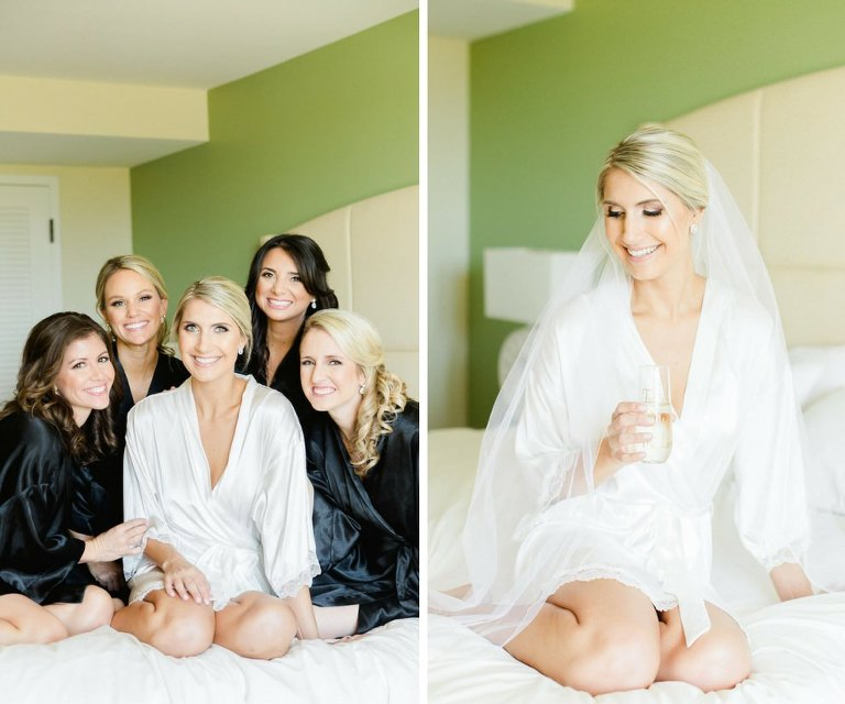 Bride Getting Ready Portrait with Bridesmaids in White and Black Satin Robes | Tampa Bay Wedding Photographer Ailyn La Torre Photography