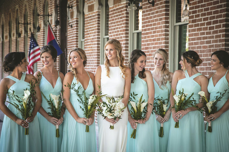 Outdoor Bridal Party Portrait, Bridesmaids in Mismatched Lulus Aqua Blue Dresses, with White Calla Lilly and Natural Greenery Bouquets | Tampa Bay Bridal Hair and Makeup Femme Akoi