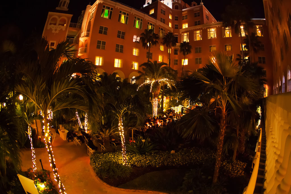 St Pete Beach Historic Hotel Outdoor Nighttime Wedding Ceremony Venue The Don Cesar