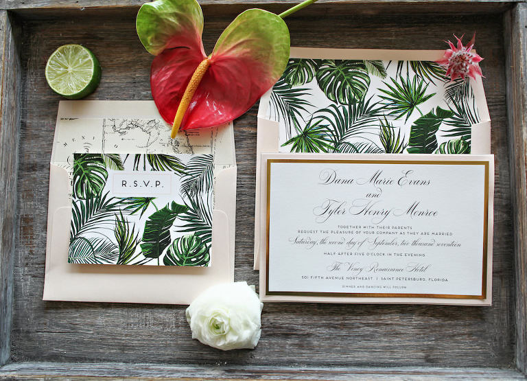Tropical Havana Cuban Latin Inspired Green Fernon White Wedding Invitation Suite with Gold Foil, and Vintage Map Envelope