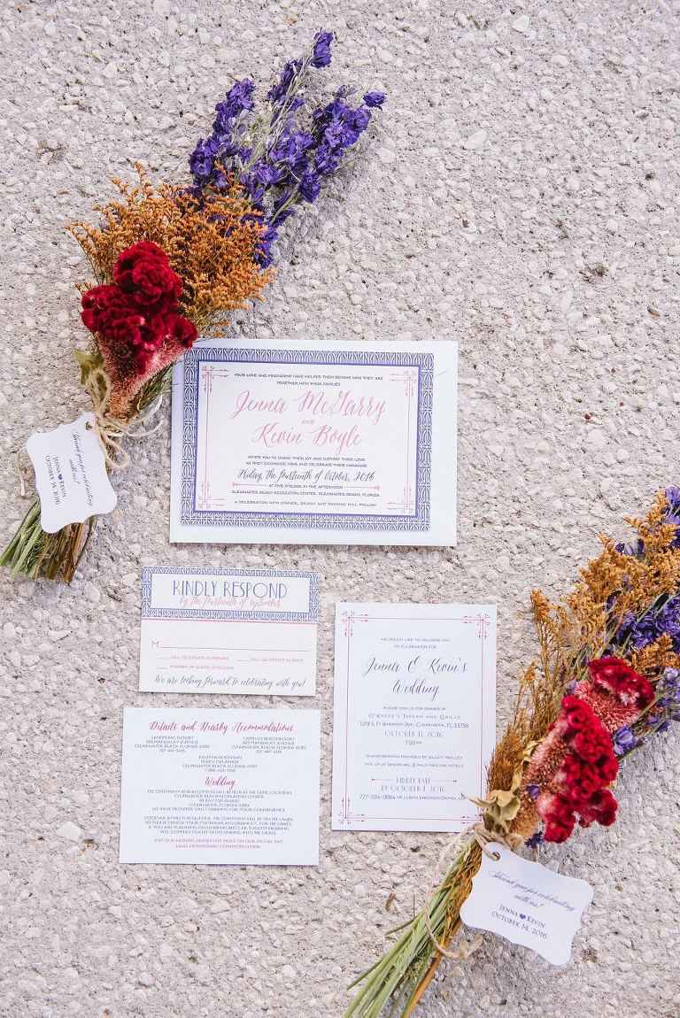 Purple and White with Pink Lettering Wedding Invitation Suite