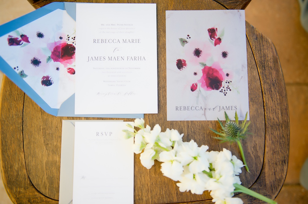 Light Blue and Pink Watercolor Floral Wedding Invitation Suite | Tampa Bay Wedding Stationery and Invitations A&P Designs