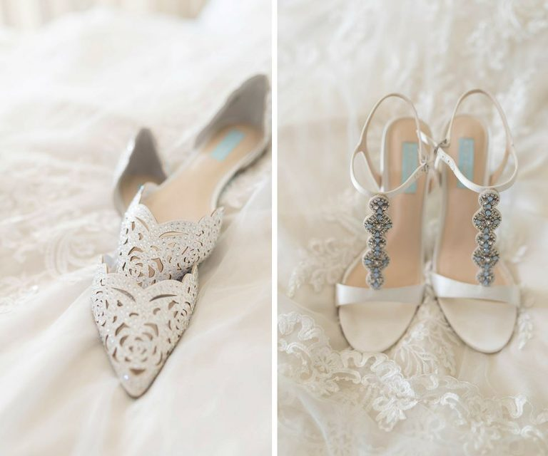 Open Toe Blue Beaded Wedding Shoes and Pointed Floral Ballet Flat Wedding Shoes
