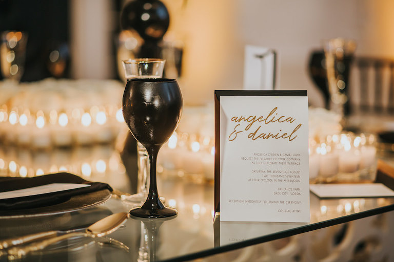Sophisticated Black White and Gold Wedding Invitation with Black Wine Glass | Tampa Bay Wedding Invitation and Papergoods URBANcoast