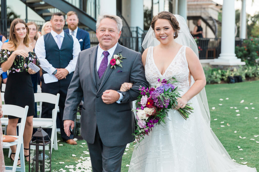Outdoor Wedding Ceremony Portrait, Bride with Magenta, Violet, and White Flower with Tropical Greenery Bouquet   Tampa Bay Outdoor Wedding Venue Lakewood Ranch Golf and Country Club