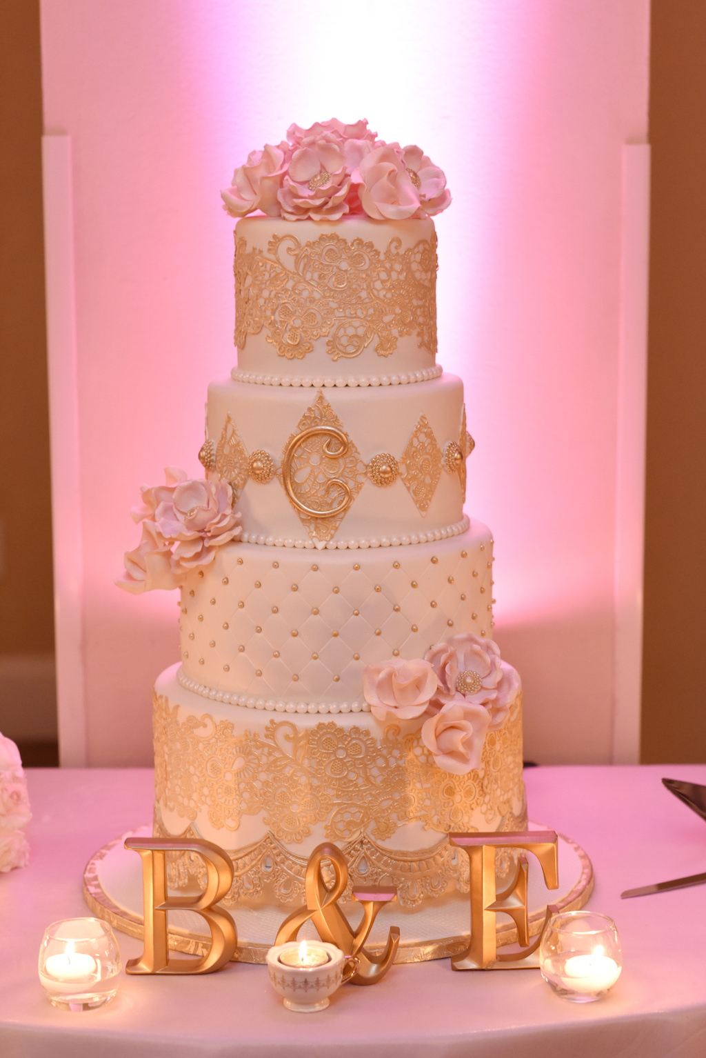 Four Tier Round White and Gold with Blush Flower Fairytale Wedding ...