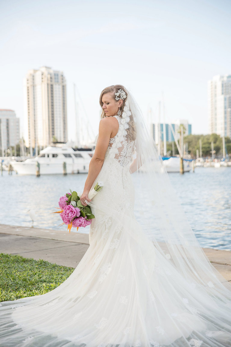 Outdoor Waterfront Bridal Portrait with Pink Peony with Greenery Bouquet and Long Vintage Wedding Veil | St Pete Wedding Photographer Kristen Marie Photography