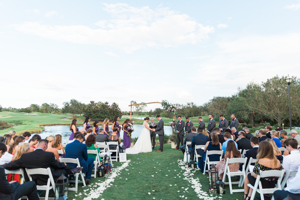 Whimsical Outdoor Country Club Wedding Ceremony Portrait, Bridesmaids in Violet Purple Dresses   Sarasota Wedding Venue Lakewood Ranch Golf and Country Club
