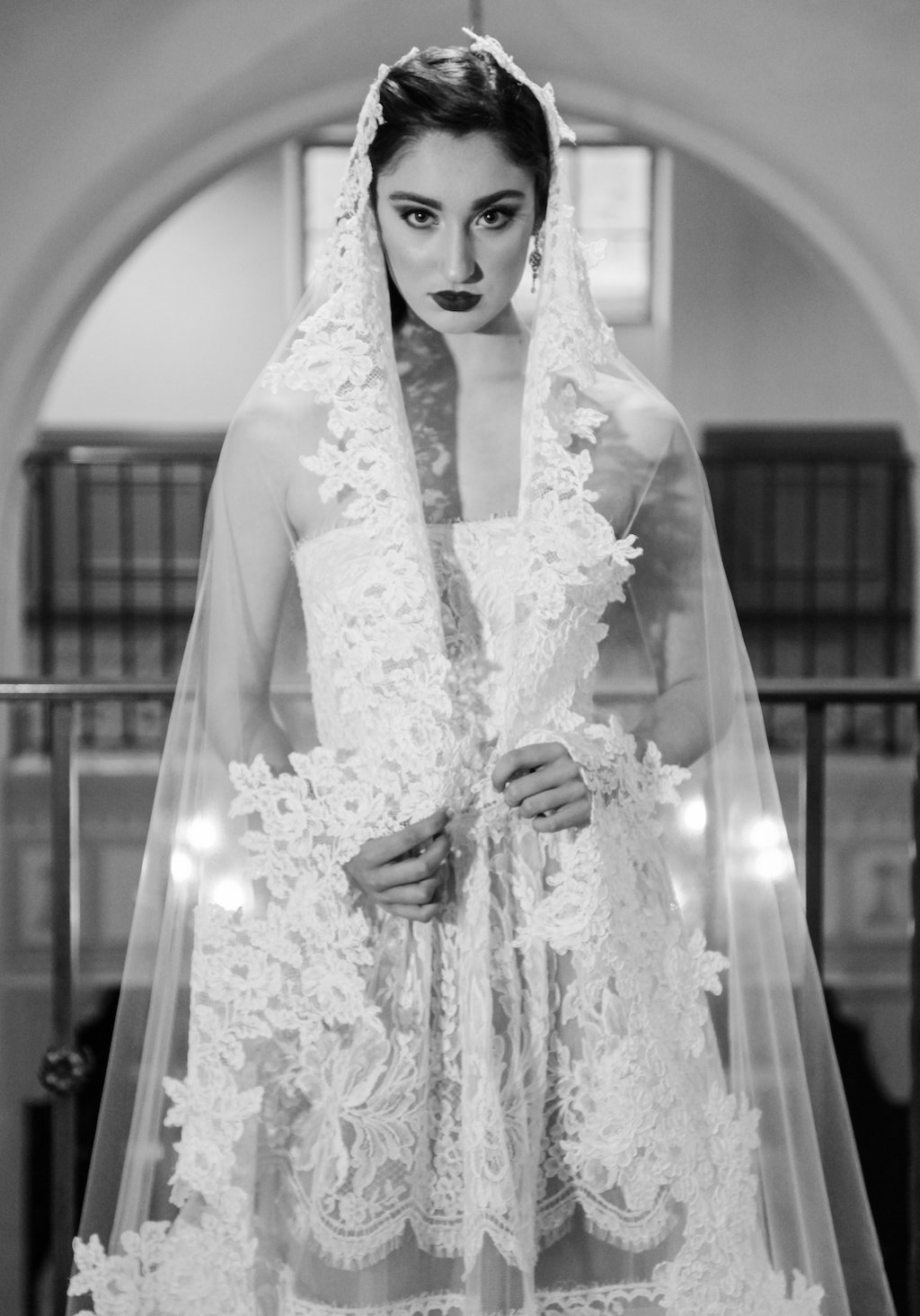 Vintage Havana Latin Inspired Bridal Style Portrait, with Floral Lace Veil