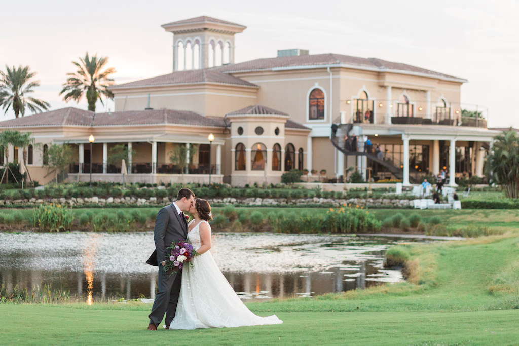 Outdoor Country Club Bride and Groom Wedding Portrait with Purple and White Bouquet   Sarasota Wedding Venue Lakewood Ranch Golf and Country Club