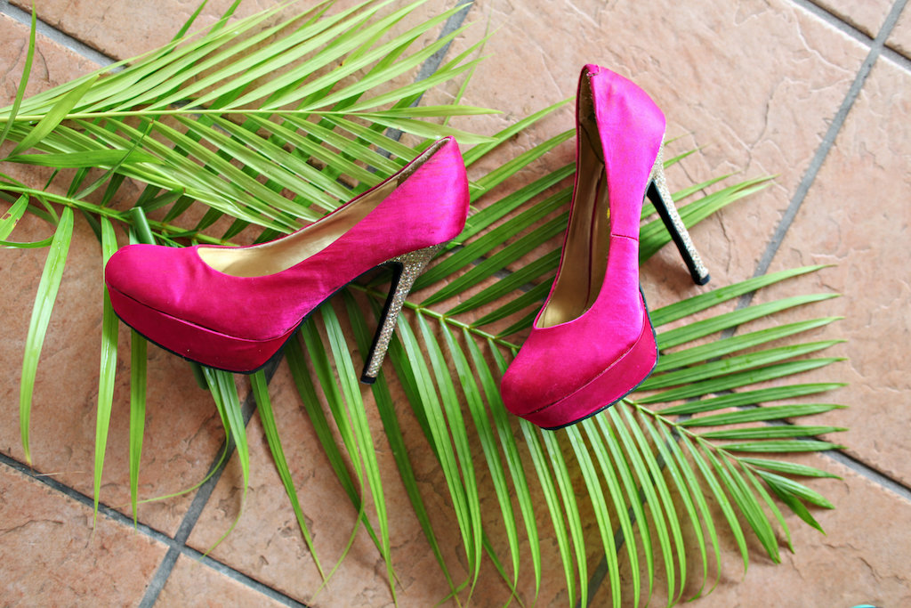 Tropical Havana Inspired Magenta Pink Wedding Shoes with Silver Glitter Heel