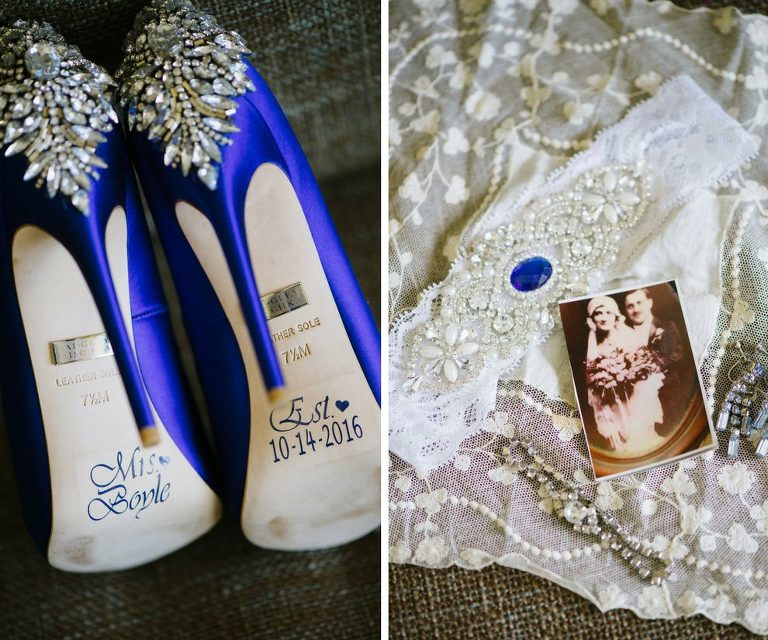 Blue Stiletto Wedding Shoes with Bejeweled Heels and Custom Mrs. and Wedding Date Stickers on Soles | Vintage Lace Bridal Accessories