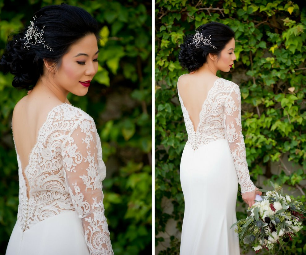 Outdoor Garden Bridal Portrait in V Back Lace Long Sleeve Daalarna Couture Wedding Dress from Tampa Bay Bridal Boutique The Bride Tampa | Bridal Hair and Makeup Michele Renee The Studio | Photographer Andi Diamond Photography