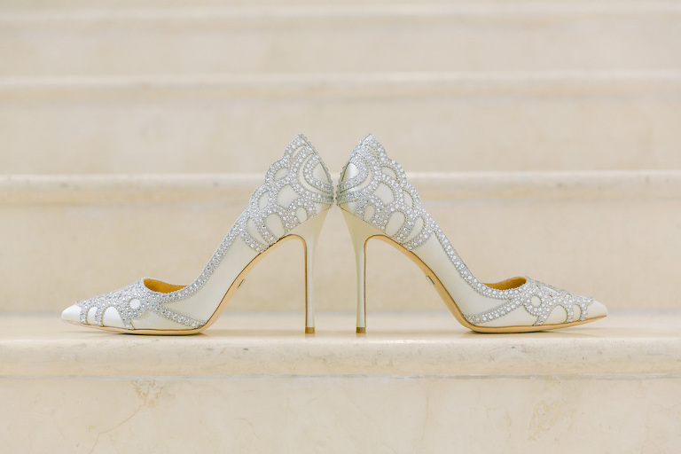 Bejeweled Ivory Pointed Toe Stiletto Wedding Shoes