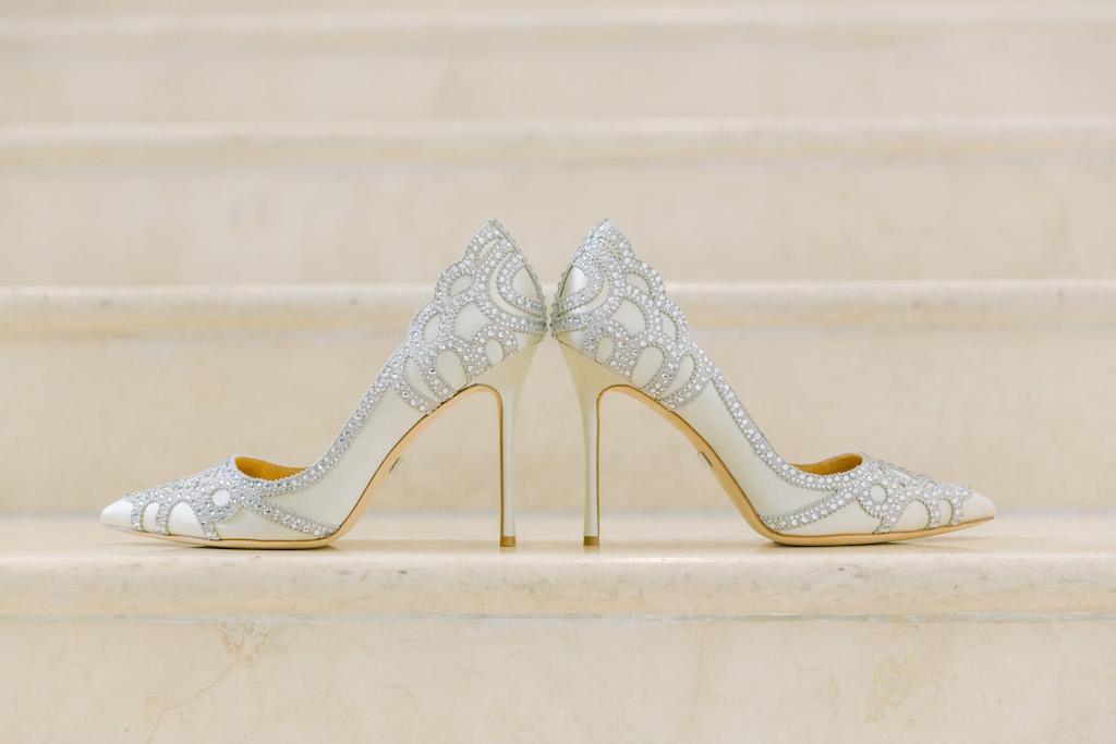 Bejeweled Ivory Pointed Toe Stiletto Wedding Shoes