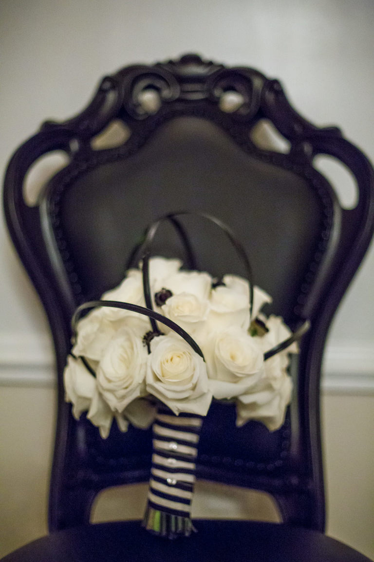 Modern White Rose Wedding Bouquet with Black and White Striped Ribbon and Black Accents