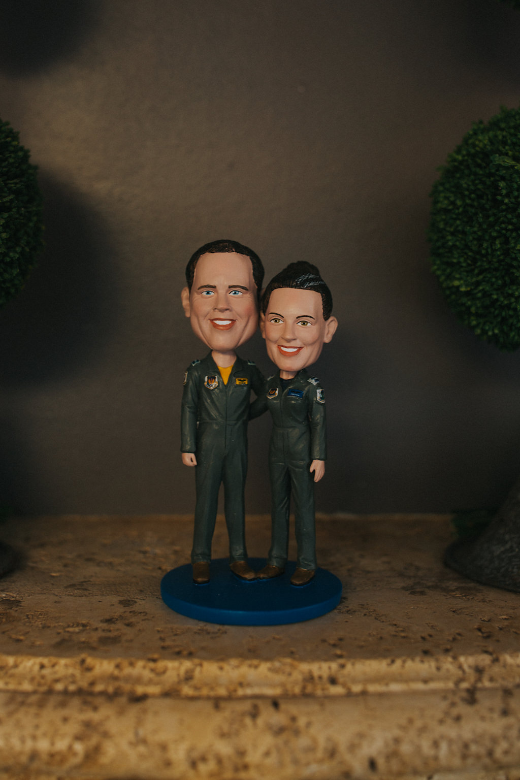Custom Wedding Bobbleheads of Bride and Groom in Air Force Military Uniform