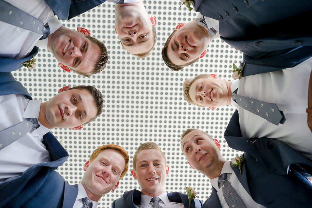 Creative Outdoor Groomsmen Wedding Portrait, In Navy Blue Suits with Grey Ties | Tampa Bay Wedding Photographer Marc Edwards Photographs
