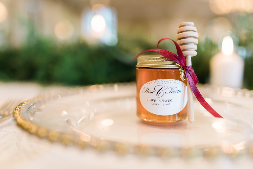 Mini Jar of Honey with Wooden Dripper and Red Ribbon Wedding Favor