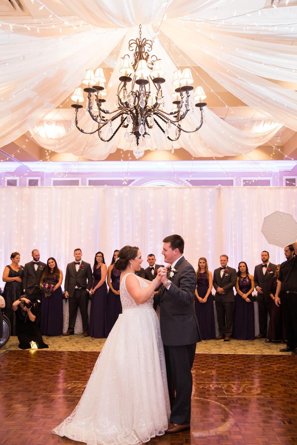 Whimsical Ballroom Wedding Reception First Dance Portrait   Sarasota Wedding DJ Grant Hemond and Associates