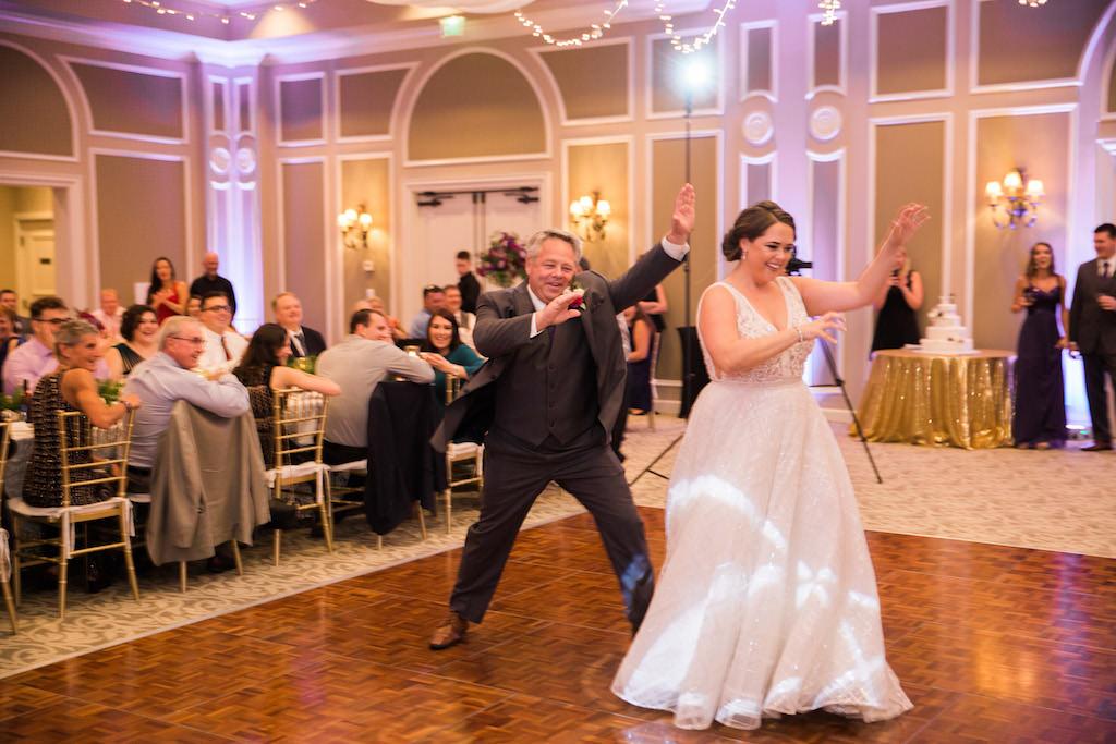 Whimsical Ballroom Wedding Reception Father Daughter Dance Portrait   Sarasota Wedding DJ Grant Hemond and Associates
