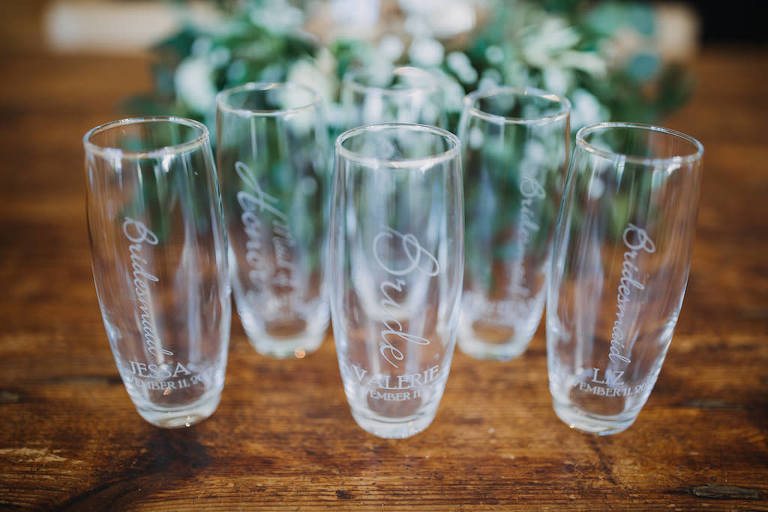Bridesmaid Gift Custom Engraved Stemless Champagne Glasses