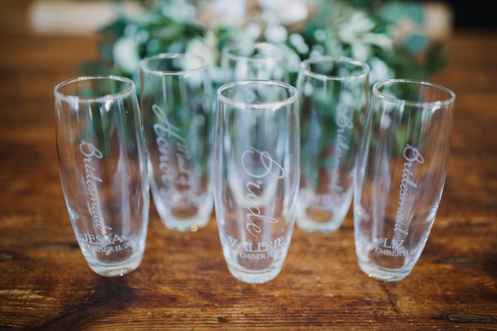Bridesmaid Gift Custom Engraved Stemless Champagne Glasses