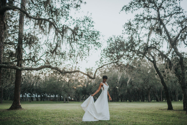 Outdoor Stonebridge at the Lange Farm Garden Bridal Portrait | Tampa Bay Wedding Dress Boutique Truly Forever Bridal | Photographer Brandi Image Photography