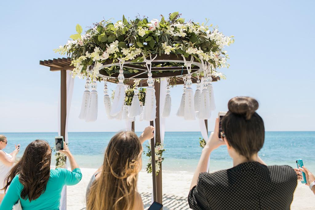 Sandals South Coast Jamaica Destination Caribbean Beach Wedding Tropical Ceremony Decor Inspiration | Alexis June Weddings
