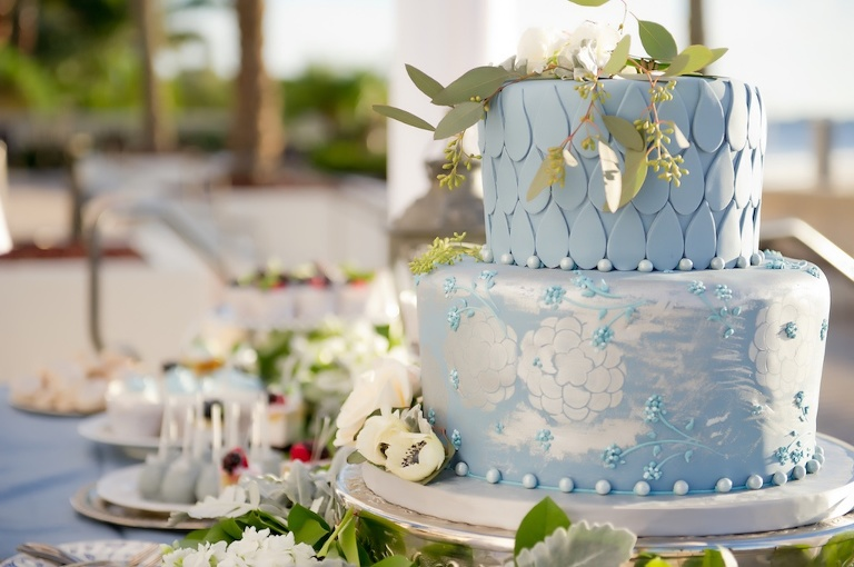 Two Tiered Hand-painted Light Blue and White Wedding Cake with White Floral Cake Topper with Greenery on Silver Cakestand for Outdoor French Countryside Inspired Wedding | Tampa Bay Wedding Cake and Dessert Bakery Alessi Bakery