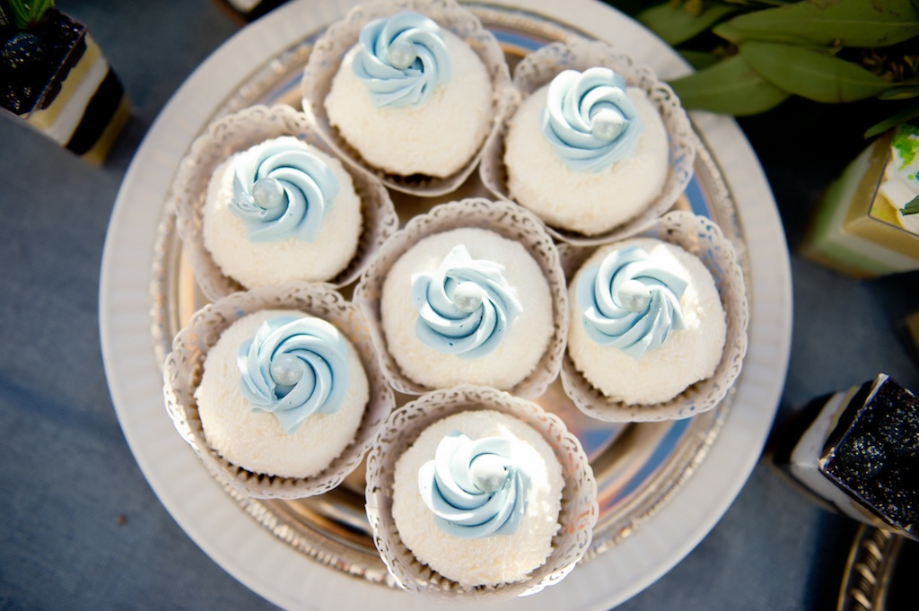 French Countryside Inspired Wedding with Blue and White Cupcakes on Silver Tray | Tampa Wedding Dessert Bakery Alessi Bakery