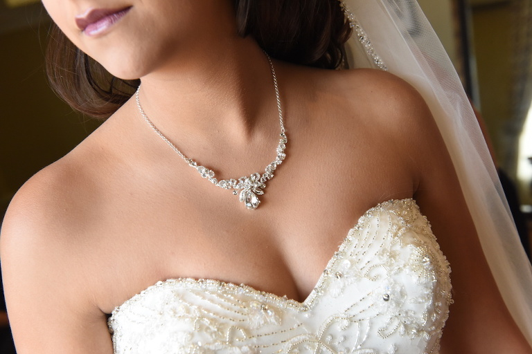 Fairytale Wedding Bridal Accessories with Floral Rhinestone Necklace and Beaded Strapless Wedding Dress