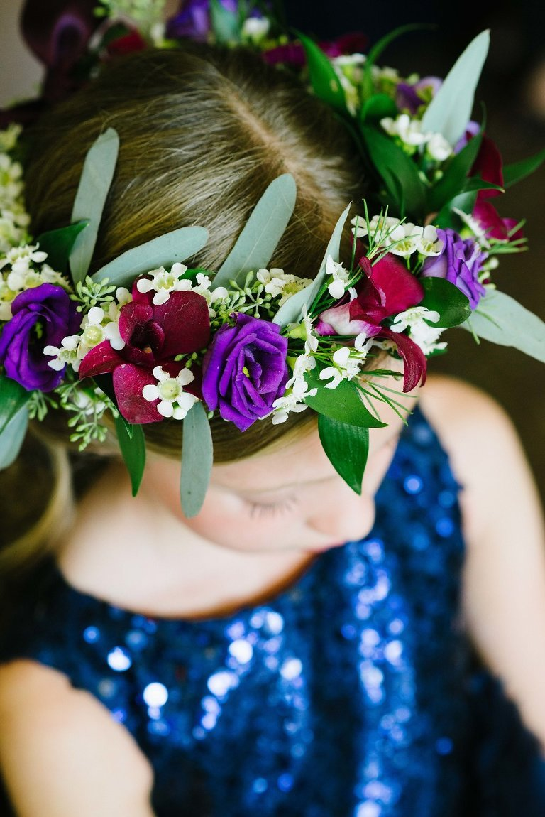 Purple, Dark Red and Greenery Flower Crown on Flower Girl in Midnight Blue Sequin Dress