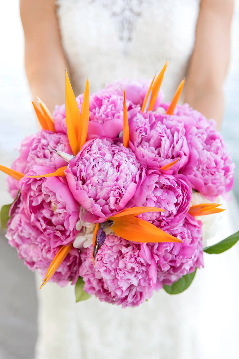 Tropical Wedding Bouquet with Pink Peonies and Orange Bird of Paradise Flowers and Greenery