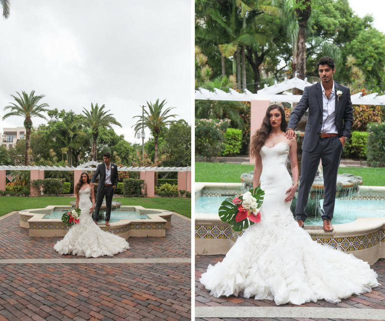 Outdoor Hotel Garden Wedding Portrait, Bride in Layered Mermaid Ines Di Santo Strapless Wedding Dress with Pink and White Lily with Green Fern Tropical Bouquet, Groom in Gray Suite with Boutonniere | St Petersburg FL Historic Venue Vinoy Renaissance
