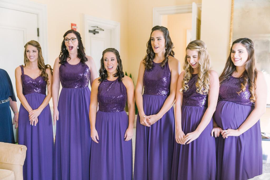 Interior Bridal Party Portrait, Bridesmaids in Sequin Floorlength Violet Purple Jasmine B2 Dresses