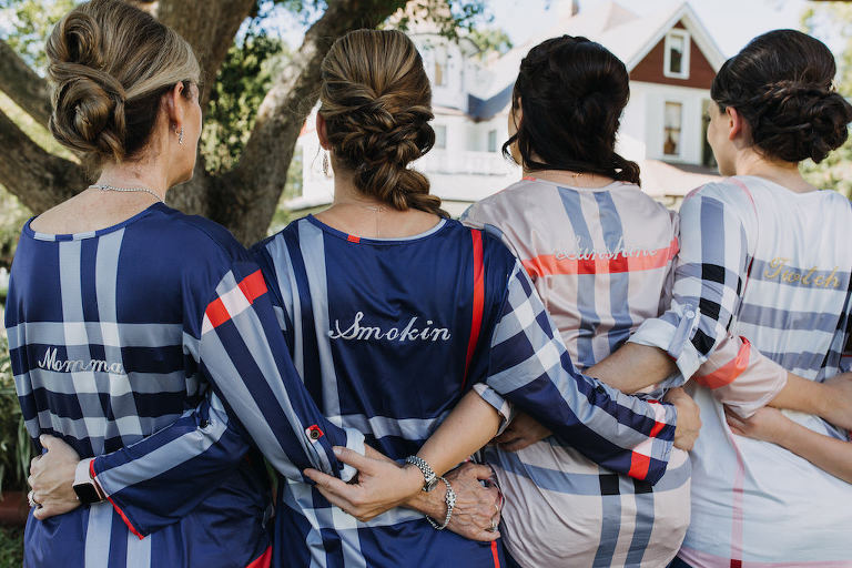 Outdoor Bridesmaids Getting Ready Portrait in Custom Embroidered Blue Red and White Plaid Shirts
