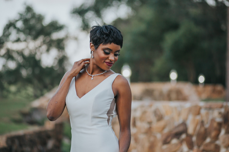 Outdoor Garden Bridal Portrait | Tampa Bay Wedding Dress Boutique Truly Forever Bridal | Photographer Brandi Image Photography | Hair and Makeup Michele Renee The Studio
