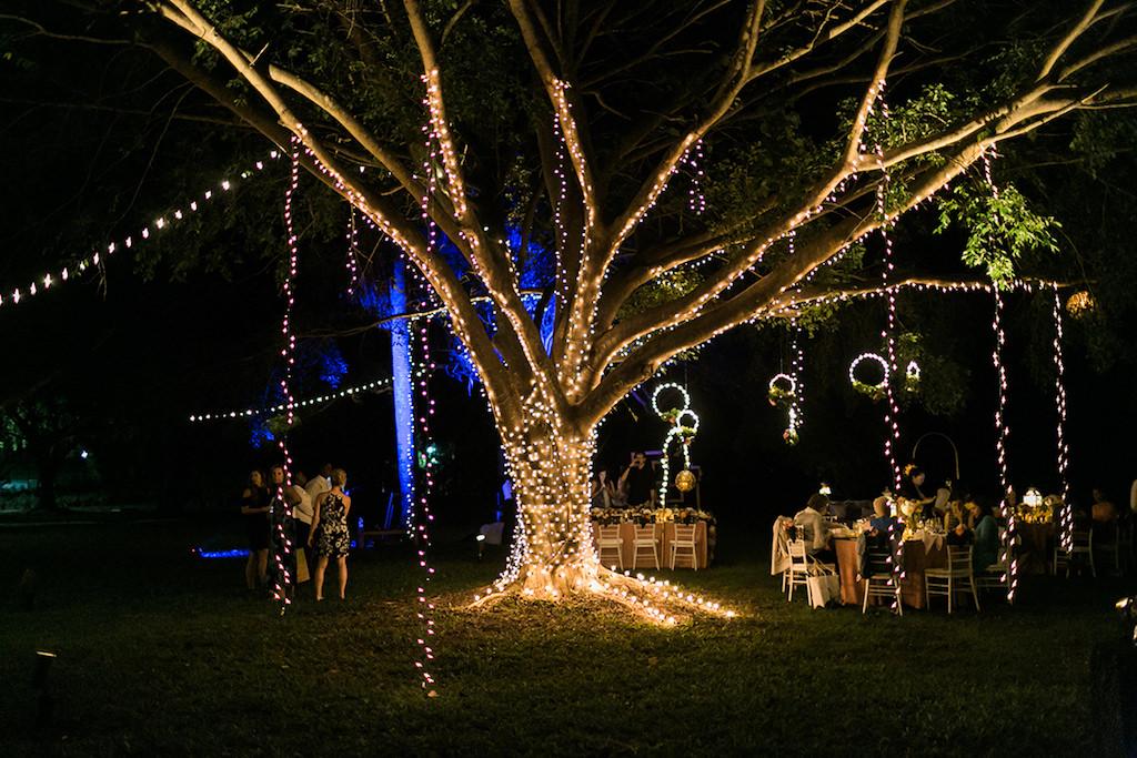 Sandals South Coast Jamaica Destination Caribbean Wedding Enchanted Garden Wedding Reception Decor & Centerpieces with Twinkle String Lights | Alexis June Weddings