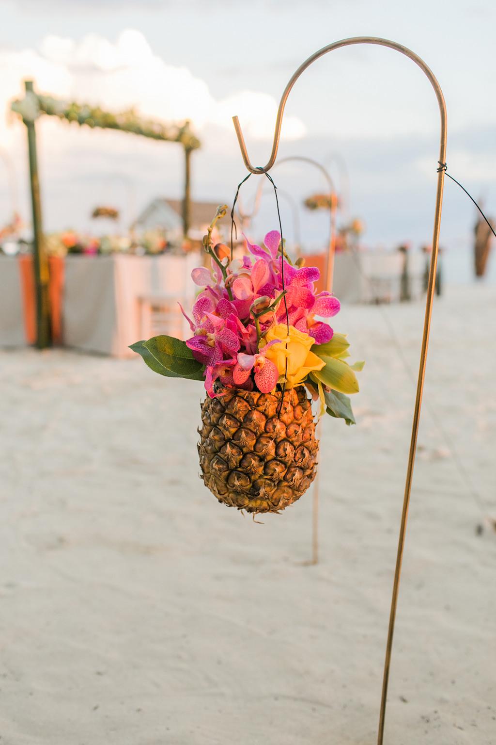 Sandals South Coast Jamaica Destination Caribbean Wedding Tropical Beach Wedding Reception Decor Pineapple Floral Holder | Alexis June Weddings