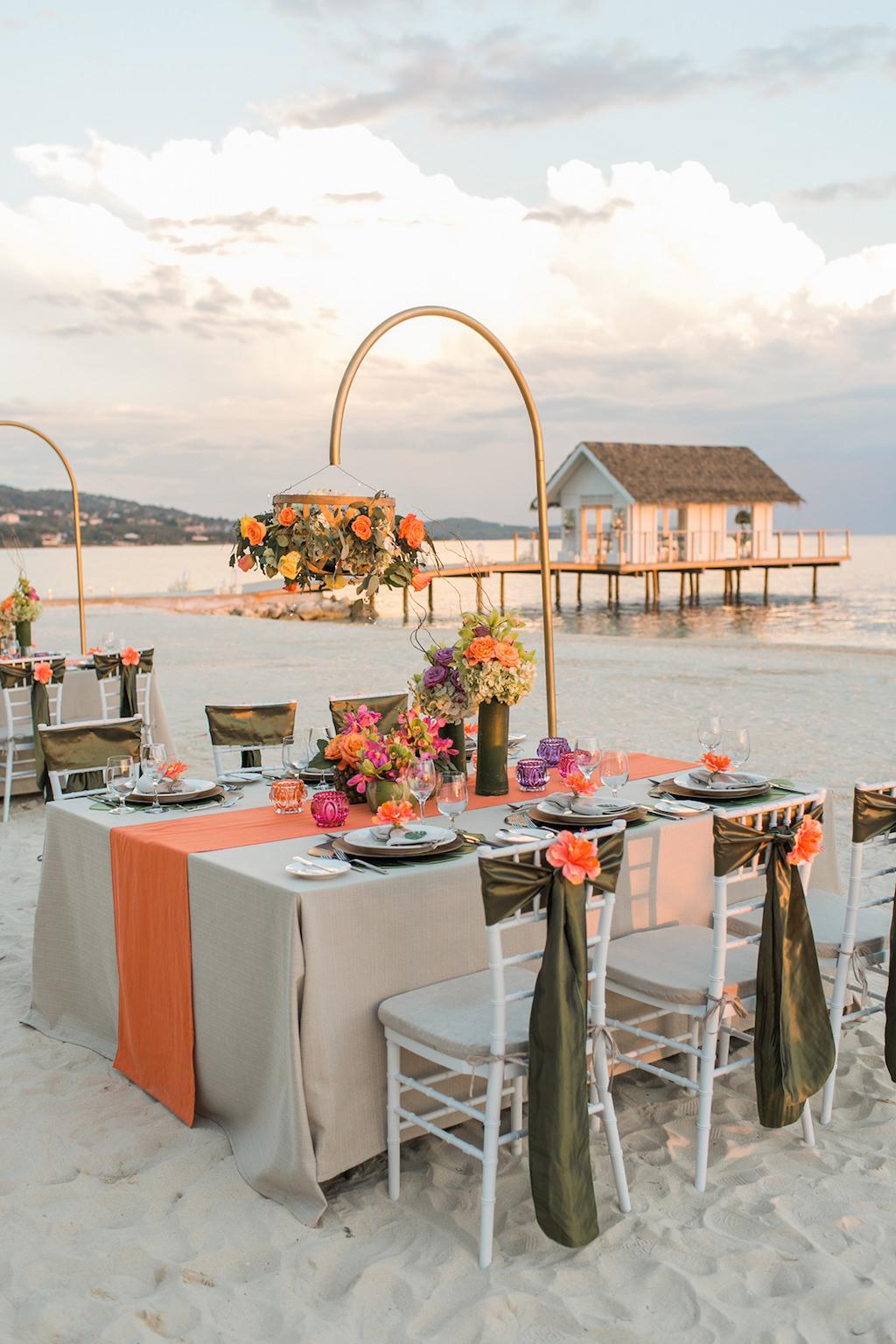 Sandals South Coast Jamaica Destination Caribbean Wedding Tropical Beach Wedding Reception Decor and Centerpieces | Alexis June Weddings