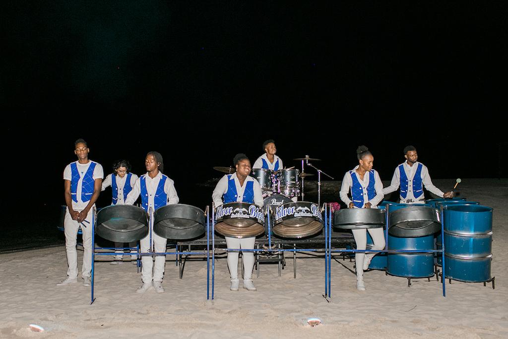 Sandals South Coast Jamaica Destination Caribbean Wedding Tropical Beach Wedding Reception Steel Drum Band | Alexis June Weddings
