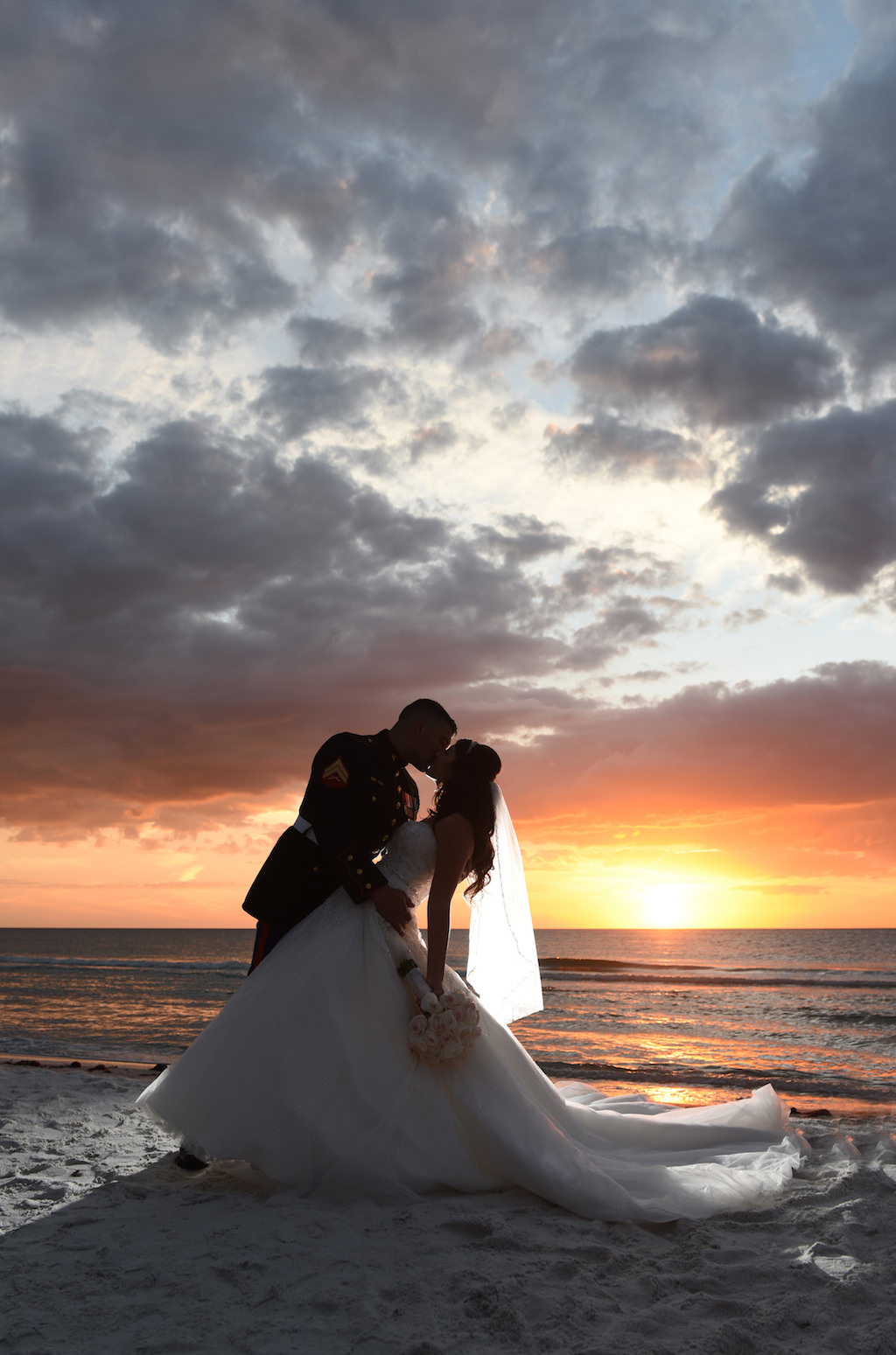 Sunset Beach Wedding Portrait Groom In