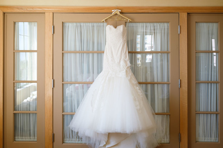 Strapless Mermaid Lazaro Wedding Dress on Customized Hanger
