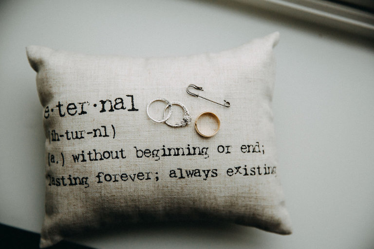 Typewriter Printed Eternal Definition Ring Pillow with Wedding Band and White Gold Engagement Ring