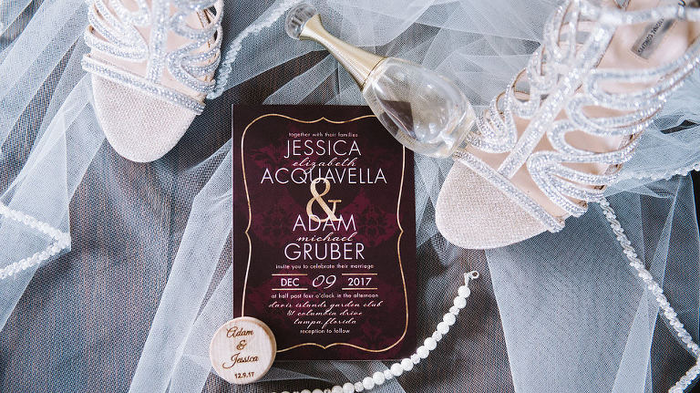 Burgundy and Gold Wedding Invitation with Strappy Silver Sandal Wedding Shoes
