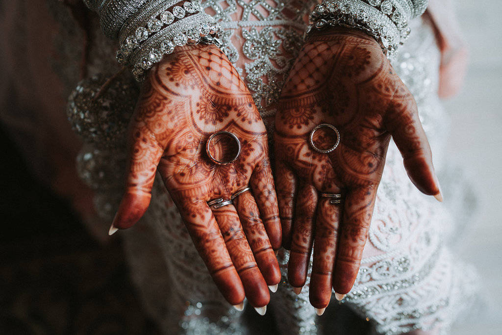 Traditional Hindu Indian Wedding Bridal Portrait with Henna and Wedding Rings   Tampa Bay Wedding Photographer Grind and Press Photography